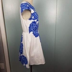 bailey blue Dresses - Blue Roses and white dress size XL  -B1